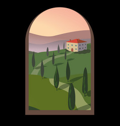 landscape with mountains and hills through an old vector image