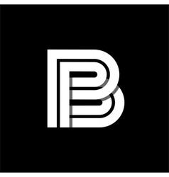 Letter B wide white stripes Logo monogram emblem vector