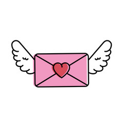 love envelope with wings vector image