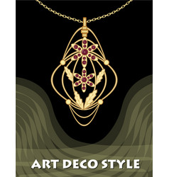 luxury art deco filigree pendant jewel with red vector image