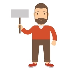 Man holding placard vector