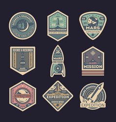 Mars expedition isolated label set vector