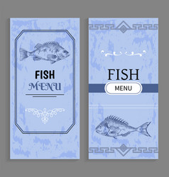 menu of dishes fish templates decorative frames vector image
