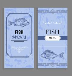 Menu of dishes fish templates decorative frames vector