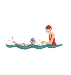 Mom teaching her little son to swim in swimming vector