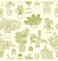 monochrome seamless pattern with plants growing vector image