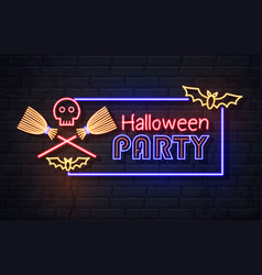 neon sign halloween party with skull vector image