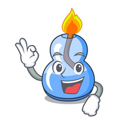 Okay alcohol burner character cartoon vector