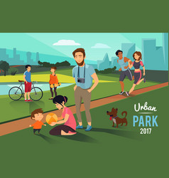 Outdoor activities in urban park happy family vector