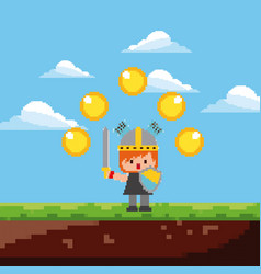 pixel game knight character gold coins and vector image