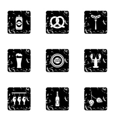 Pub icons set grunge style vector