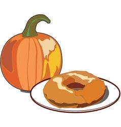 Pumpkin doughnut vector