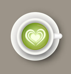 Realistic cup with matcha latte drink top view vector