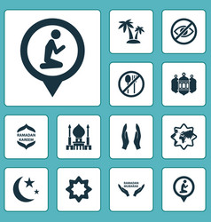 Religion icons set with palms worship islamic vector