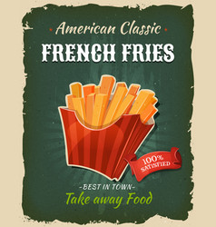 Retro fast food french fries poster vector