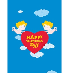 Romantic Valentine Cupid and heart Happy vector image