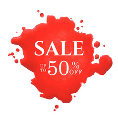 sale poster with red blot vector image