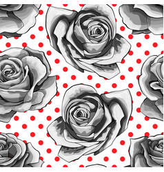 seamless pattern background with white roses vector image