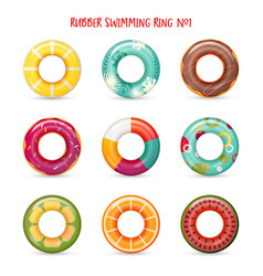 set isolated rubber swimming rings vector image
