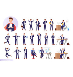 set male businessman character in different vector image