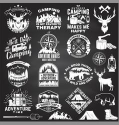set outdoor adventure quotes symbol vector image
