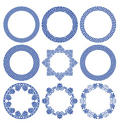 set round blue frames in greek style vector image