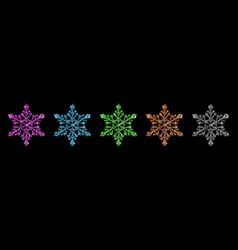 set shiny snowflakes vector image