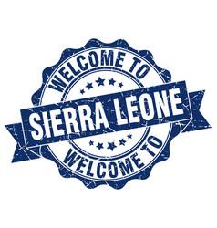 Sierra leone round ribbon seal vector