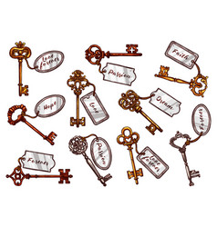 Sketch vintage keys with keychain tags vector