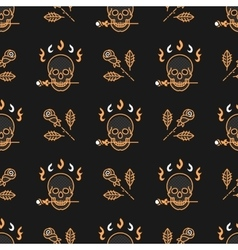 Skull and roses seamless pattern Art Deco vector image
