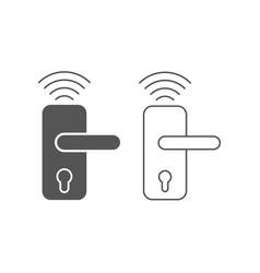 Smart home wireless door lock icon smart vector