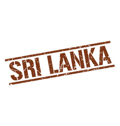 Sri lanka brown square stamp vector