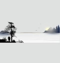sunrise or sunseton lake and a couple vector image