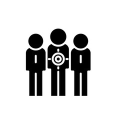 target audience black icon sign on vector image