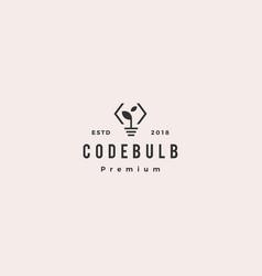 think code bulb leaf innovation smart logo icon vector image
