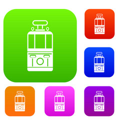 tram front view set color collection vector image