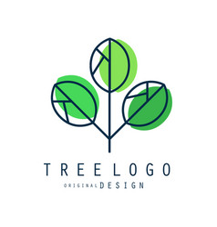 tree logo original design green eco and bio badge vector image