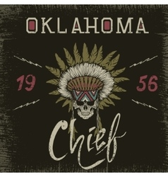 Vintage label with skull-chief vector