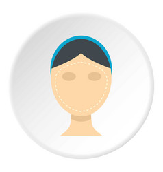 Woman face ready for cosmetic surgery icon circle vector