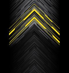 yellow light black line arrow polygon on grey vector image