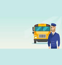 Young caucasian school bus driver vector