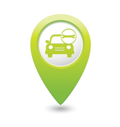 car with wrench icon map pointer green vector image vector image