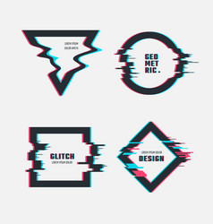 Frames with glitch tv distortion effect vector