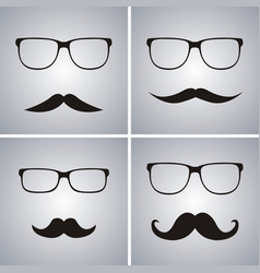 glasses and mustache set simple glasses and vector image