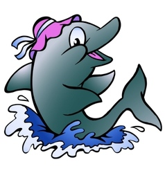 Hand-drawn of an Dolphin playing in the blue water vector image vector image