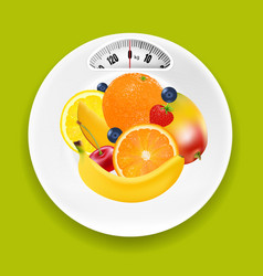 white plate with weight scale and fruits vector image vector image