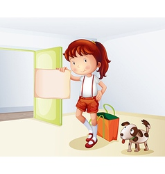 A girl holding a blank paper with a bag and a dog vector image vector image