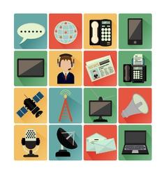Flat icons comunication vector