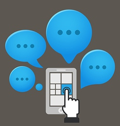 Modern smartphone with group of speech clouds vector image vector image