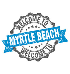 myrtle beach round ribbon seal vector image